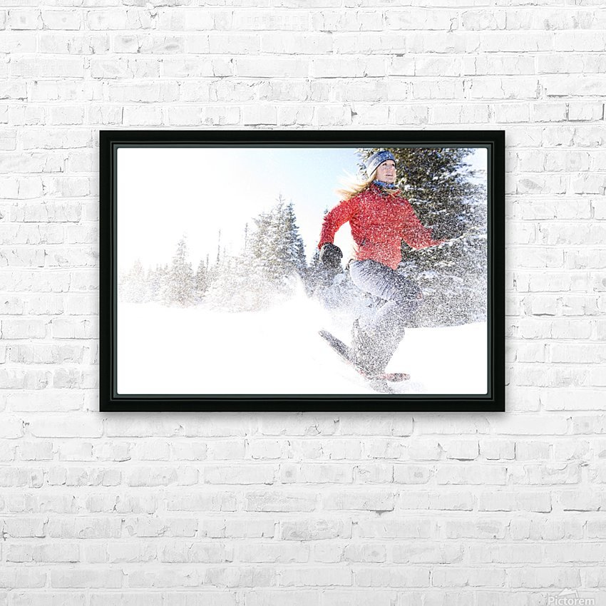 Young Woman On Snowshoes Enjoy The Outdoors Near Homer, Alaska During Winter. HD Sublimation Metal print with Decorating Float Frame (BOX)
