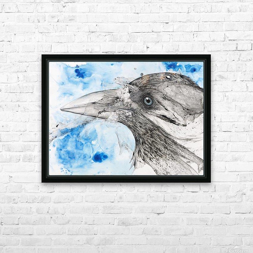 Illustration of a bird's eye and beak with mottled blue and white background HD sublimation métal imprimé avec décoration flotteur cadre (boîte)