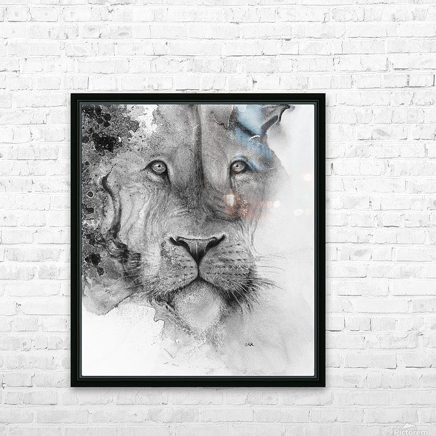 Illustration of a lion's face and a mottled background HD Sublimation Metal print with Decorating Float Frame (BOX)