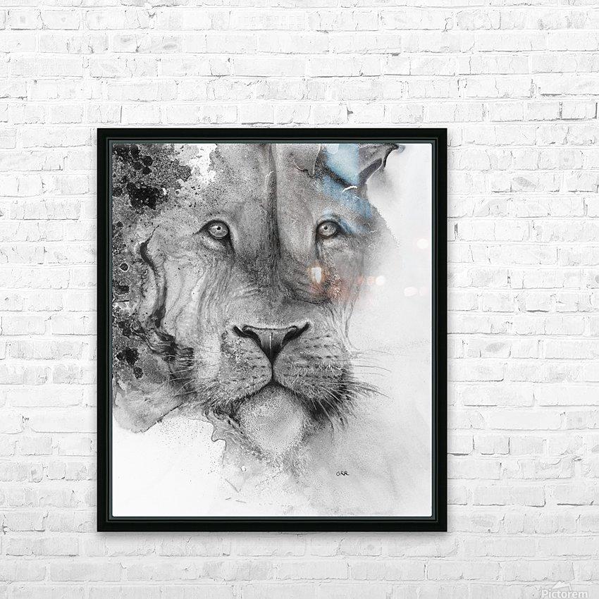 Illustration of a lion's face and a mottled background HD sublimation métal imprimé avec décoration flotteur cadre (boîte)