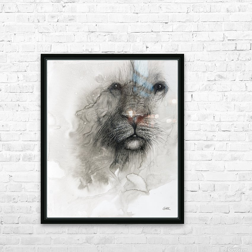Illustration of a lion's face on a white background HD Sublimation Metal print with Decorating Float Frame (BOX)