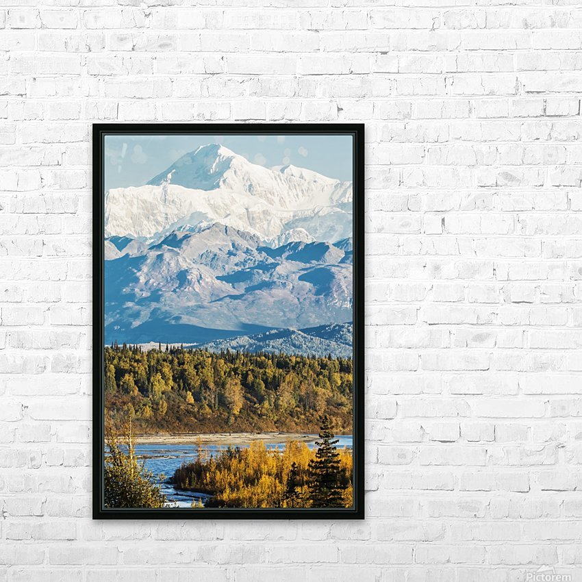 Denali, viewed from the Parks Highway, interior Alaska, near South Viewpoint rest stop; Alaska, United States of America HD Sublimation Metal print with Decorating Float Frame (BOX)