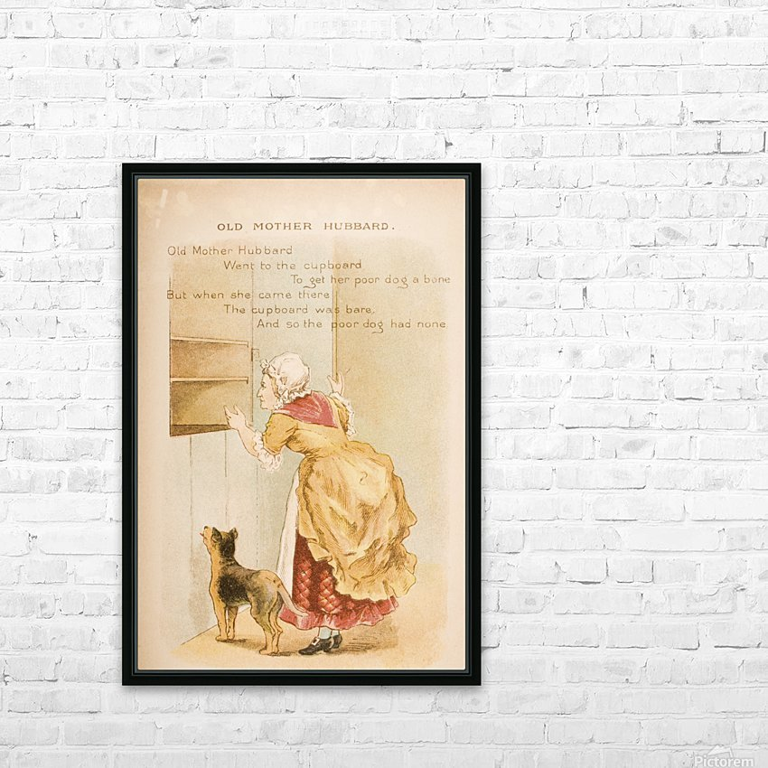 Old Mother Hubbard from Old Mother Goose's Rhymes and Tales  Illustration by Constance Haslewood  Published by Frederick Warne & Co London and New York circa 1890s  Chromolithography by Emrik & Binger of Holland HD Sublimation Metal print with Decorating Float Frame (BOX)