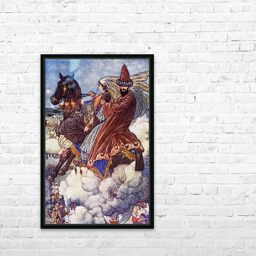 The Story of the Enchanted Horse. Illustration by Charles Folkard from the book The Arabian Nights published 1917 HD Sublimation Metal print with Decorating Float Frame (BOX)