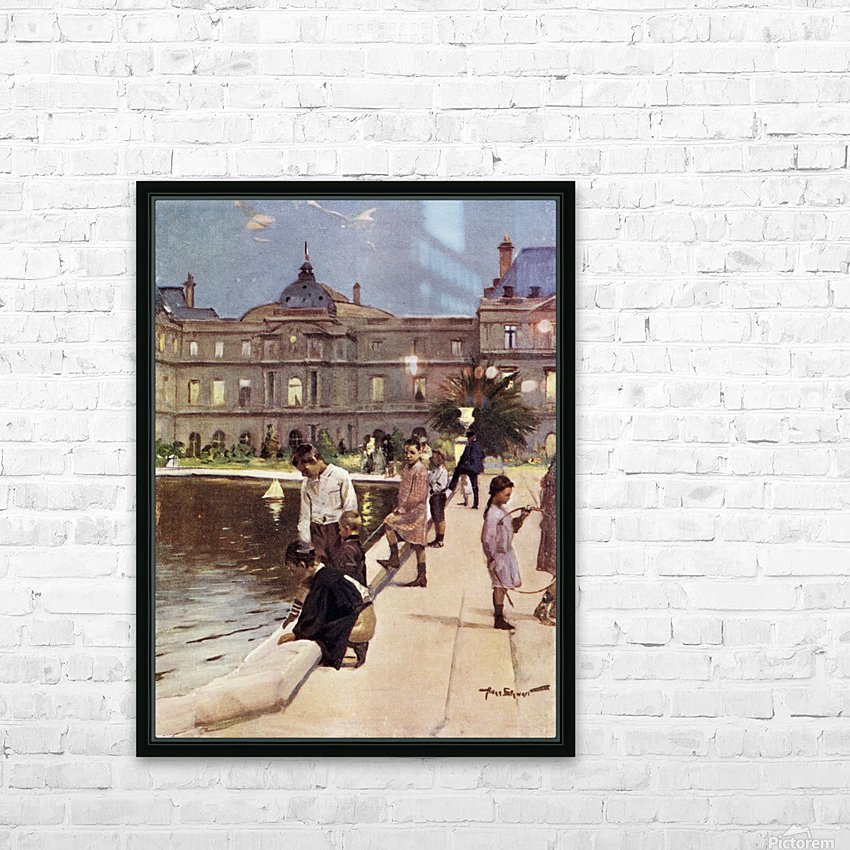 Children of Paris in The Luxemburg Gardens, Paris, France. Colour illustration from the book France by Gordon Home published 1918 HD Sublimation Metal print with Decorating Float Frame (BOX)