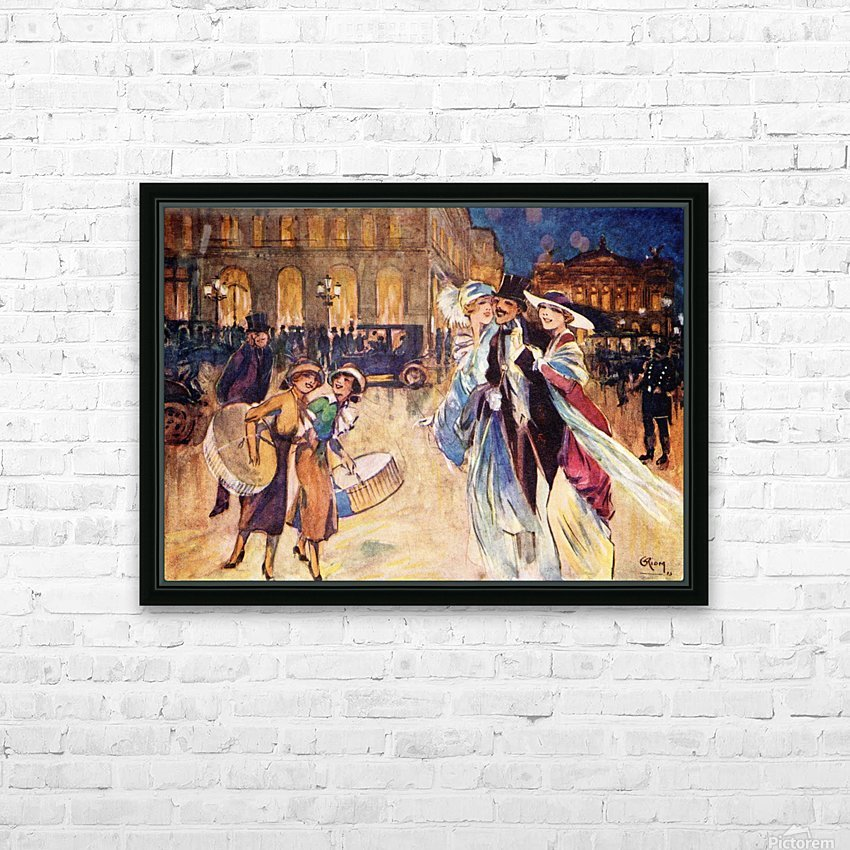 The Heart of Fashionable Paris. Colour illustration from the book France by Gordon Home published 1918 HD Sublimation Metal print with Decorating Float Frame (BOX)