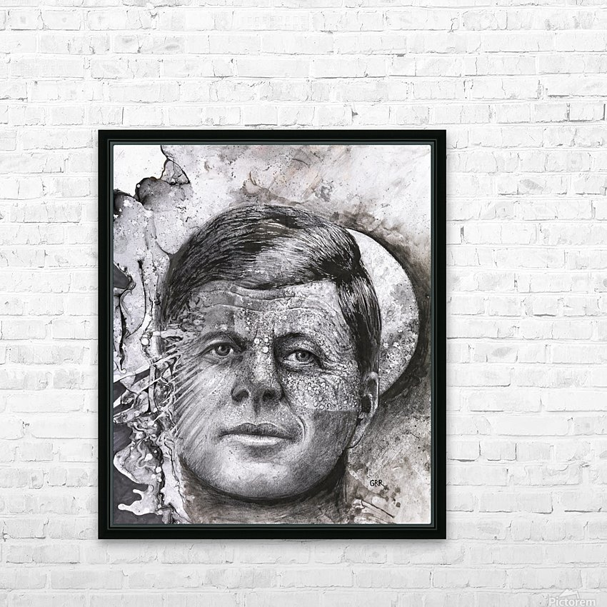 Black and white illustration of a man's face with a full moon overlapping his face HD Sublimation Metal print with Decorating Float Frame (BOX)