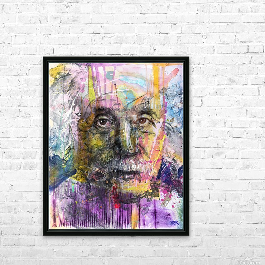 Illustration of a man's face with colourful abstract patterns surrounding it HD Sublimation Metal print with Decorating Float Frame (BOX)