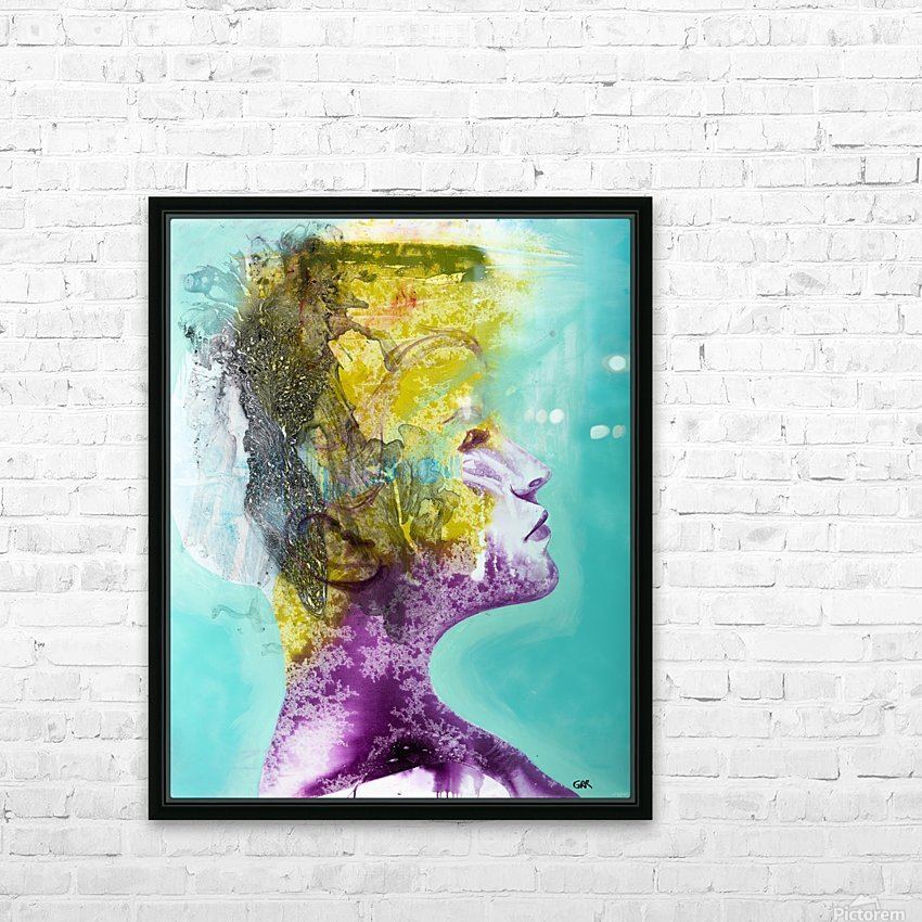 Illustration of a woman's head with colourful abstract patterns emerging from the back of the head HD Sublimation Metal print with Decorating Float Frame (BOX)