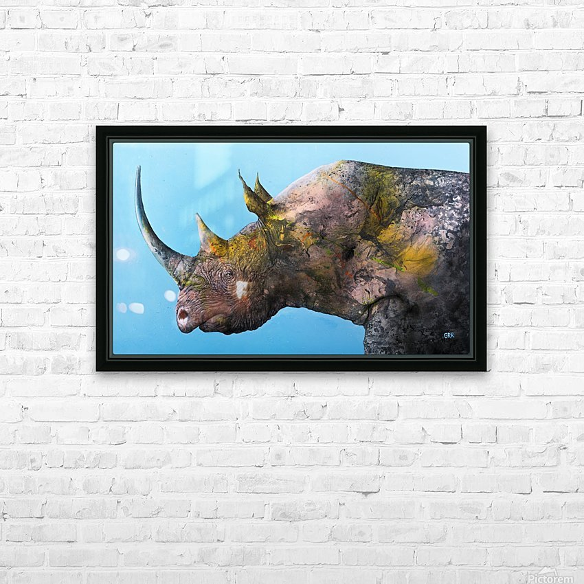 Illustration of a white rhinoceros against a blue background HD Sublimation Metal print with Decorating Float Frame (BOX)