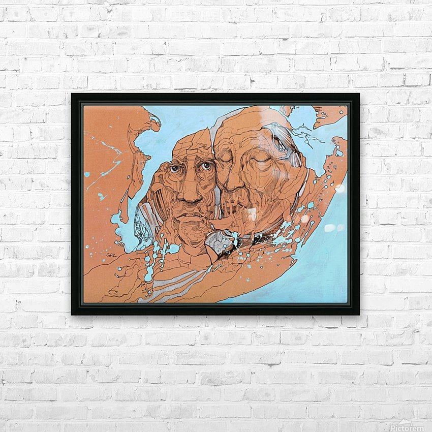 Illustration of two male faces and an abstract blue and brown background HD Sublimation Metal print with Decorating Float Frame (BOX)