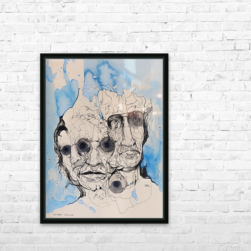 Illustration of a composite of men's faces HD Sublimation Metal print with Decorating Float Frame (BOX)