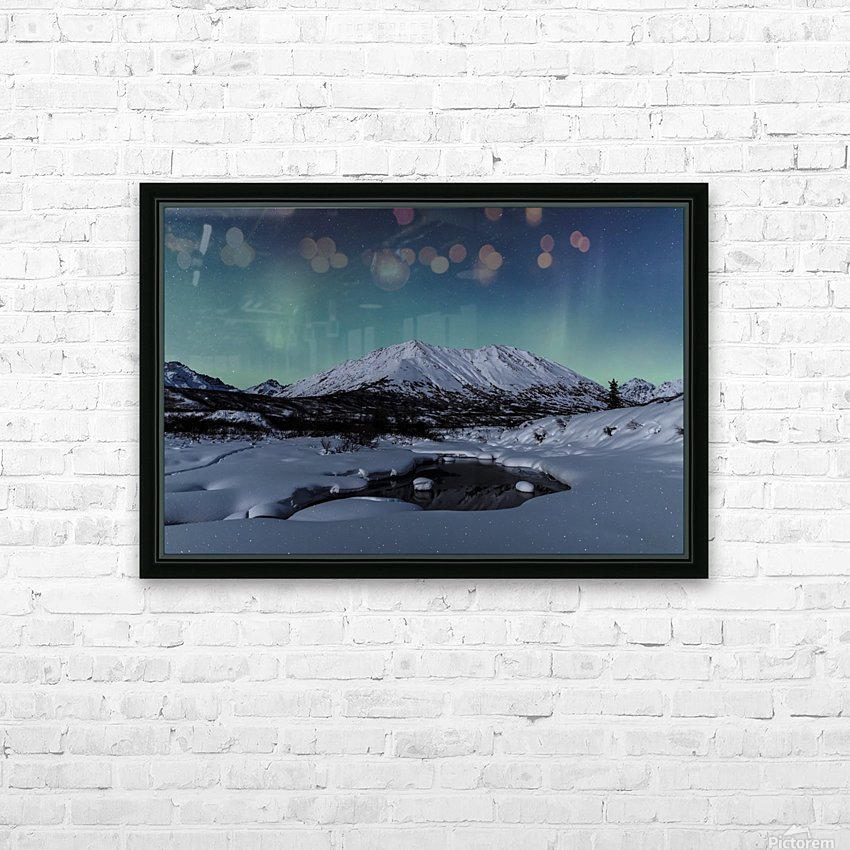 Aurora Borealis (Northern Lights) dance above Idaho Peak and the Little Susitna River at Hatcher Pass in winter, South-central Alaska; Alaska, United States of America HD Sublimation Metal print with Decorating Float Frame (BOX)