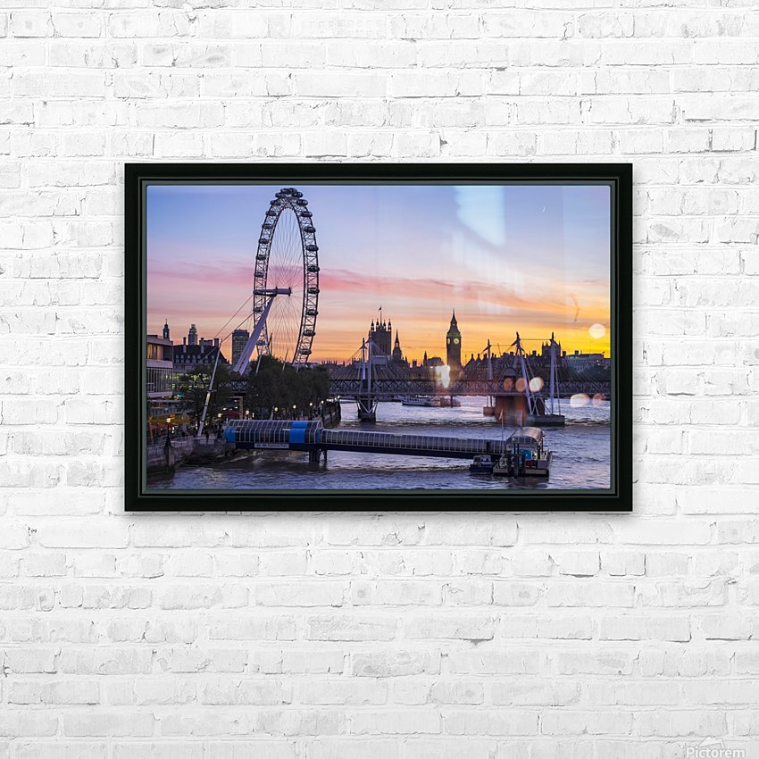 Millennium Wheel and skyline at sunset; London, England HD Sublimation Metal print with Decorating Float Frame (BOX)