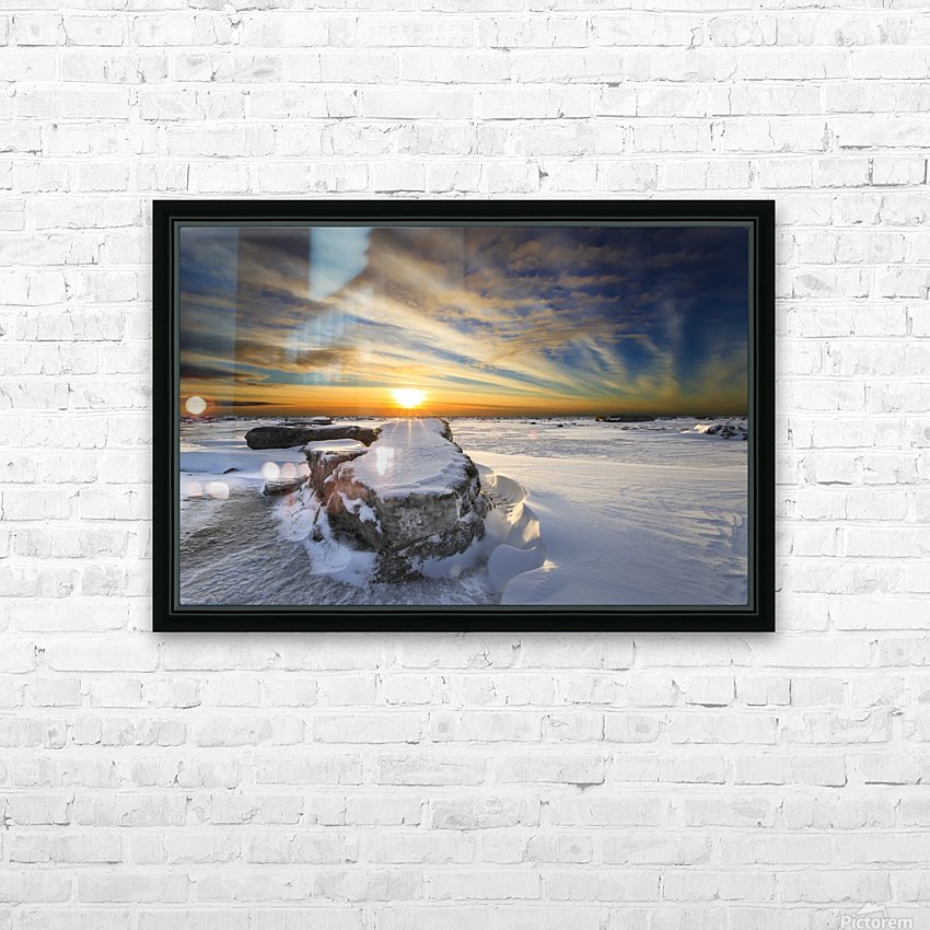 A large ice block on frozen Turnagain Arm at sunset; Anchorage, Alaska, United States of America HD Sublimation Metal print with Decorating Float Frame (BOX)
