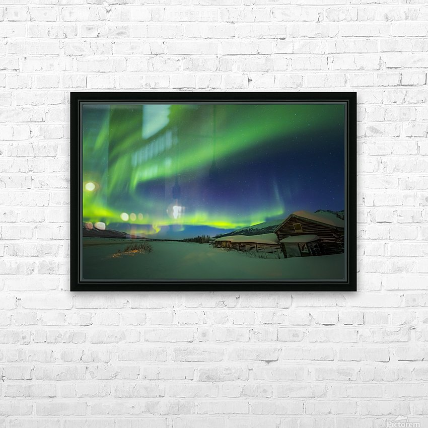 The aurora fills the sky above the historic Black Rapids Roadhouse along the Richardson Highway on a bitterly cold night; Alaska, United States of America HD Sublimation Metal print with Decorating Float Frame (BOX)