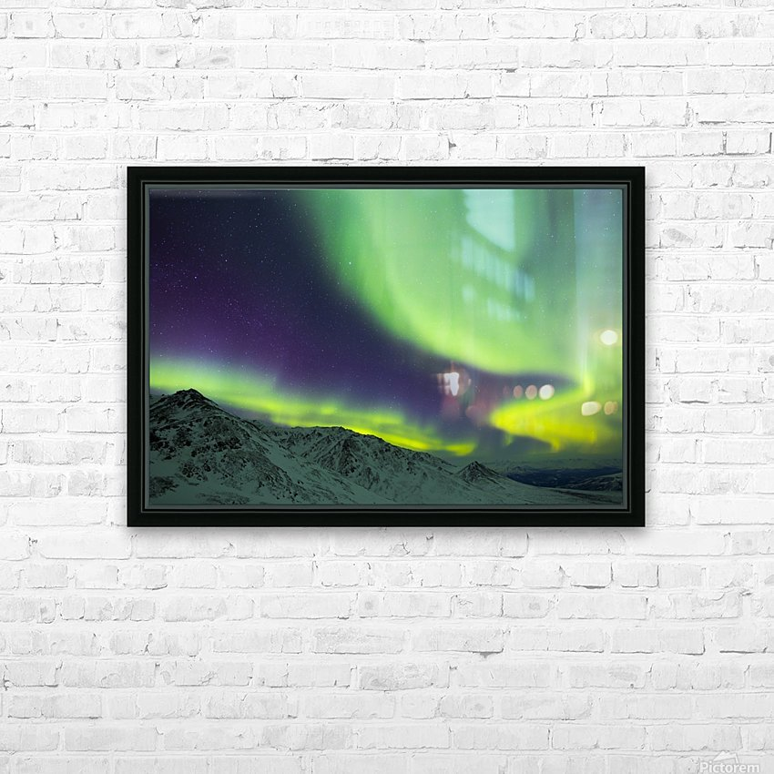 Aurora borealis swirls over mountains within Denali National Park on a very cold winter night; Alaska, United States of America HD Sublimation Metal print with Decorating Float Frame (BOX)