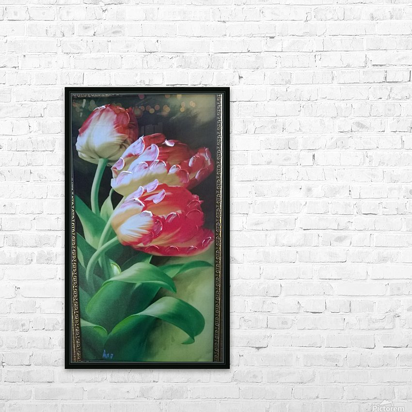 red flowers for  lovers  HD Sublimation Metal print with Decorating Float Frame (BOX)