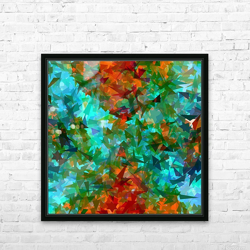 psychedelic geometric abstract pattern in green blue orange HD Sublimation Metal print with Decorating Float Frame (BOX)