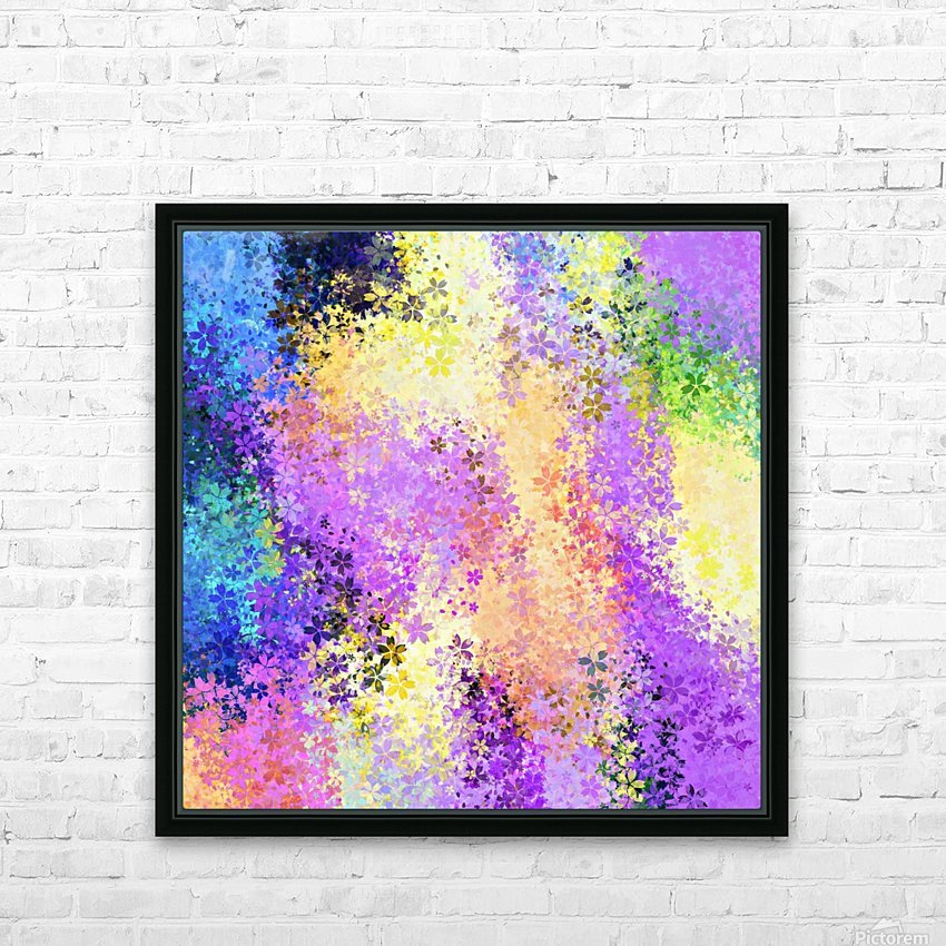 flower pattern abstract background in purple yellow blue green HD Sublimation Metal print with Decorating Float Frame (BOX)