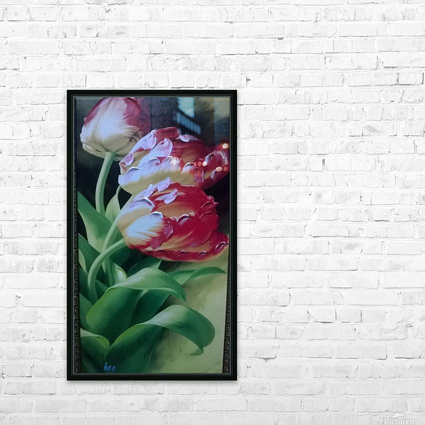 Red Love Flowers HD Sublimation Metal print with Decorating Float Frame (BOX)