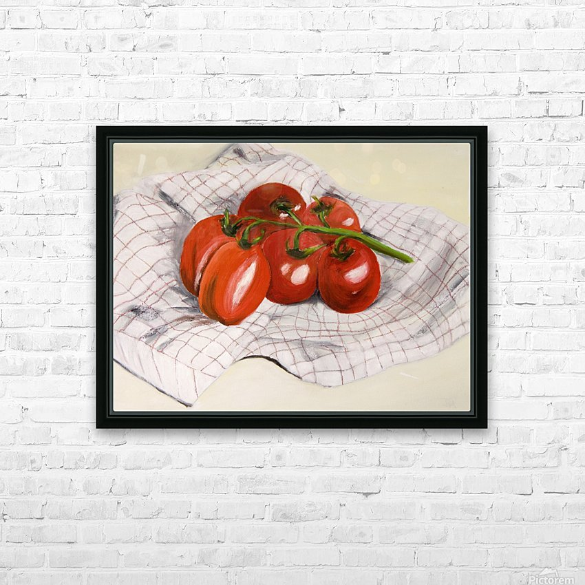 Tomatoes on a Striped Cloth  HD Sublimation Metal print with Decorating Float Frame (BOX)