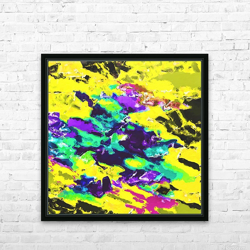 psychedelic splash painting abstract texture in yellow blue green purple HD Sublimation Metal print with Decorating Float Frame (BOX)