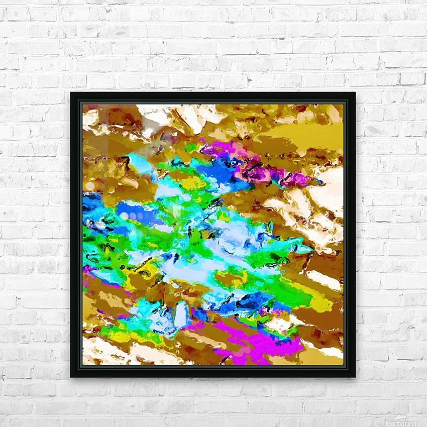 psychedelic splash painting abstract texture in brown green blue pink HD Sublimation Metal print with Decorating Float Frame (BOX)