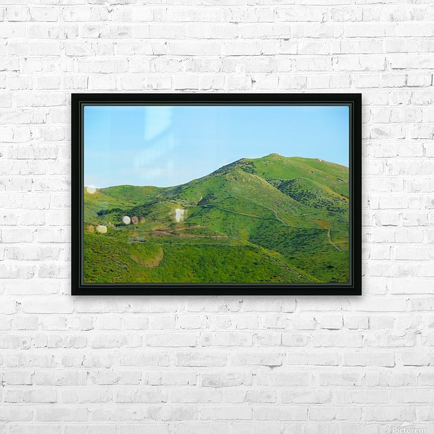 green field and green mountain with blue sky HD Sublimation Metal print with Decorating Float Frame (BOX)
