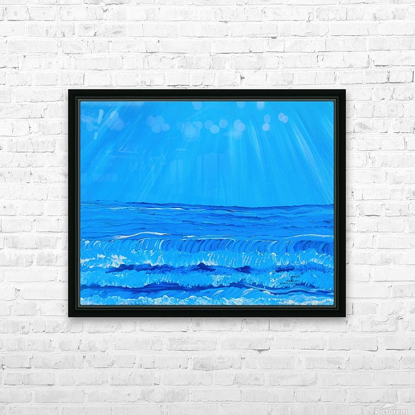 27_027 waves R HD Sublimation Metal print with Decorating Float Frame (BOX)