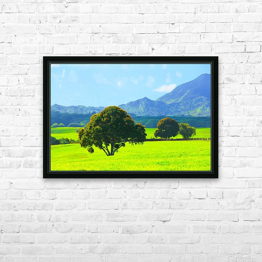green tree in the green field with green mountain and blue sky background HD Sublimation Metal print with Decorating Float Frame (BOX)