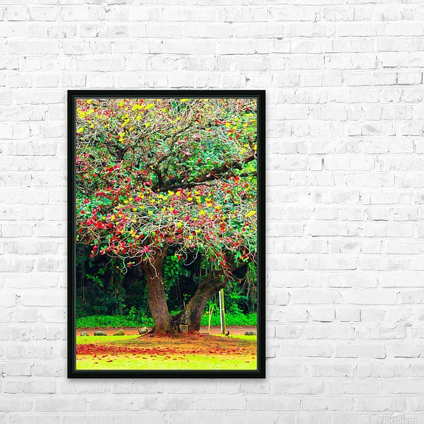 big tree with green yellow and red leaves HD Sublimation Metal print with Decorating Float Frame (BOX)