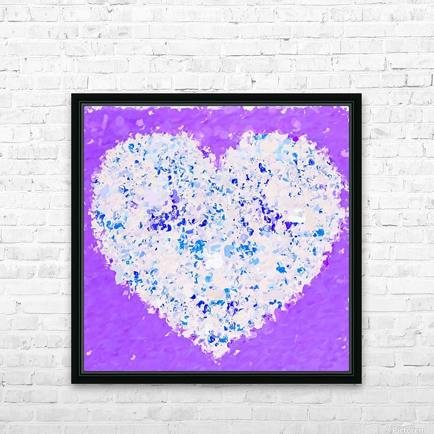 blue and white heart shape with purple background HD Sublimation Metal print with Decorating Float Frame (BOX)