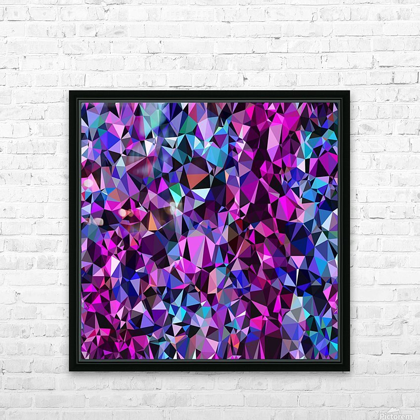 geometric triangle polygon pattern abstract in pink blue black HD Sublimation Metal print with Decorating Float Frame (BOX)