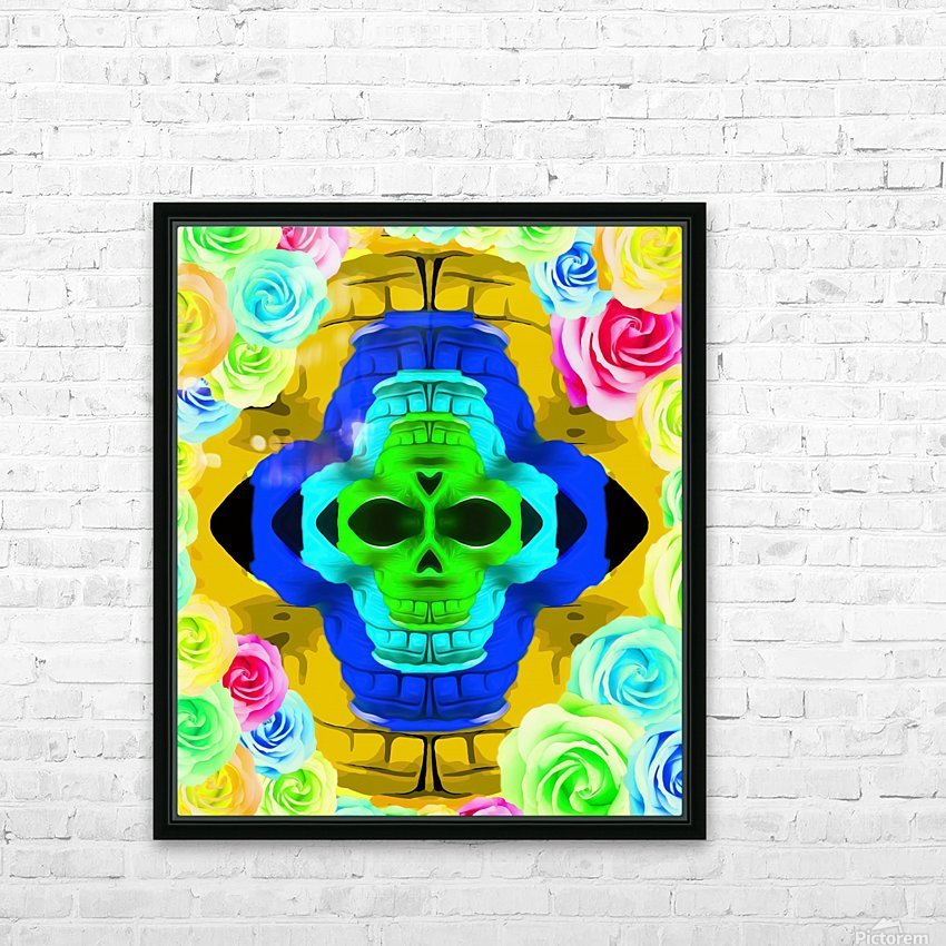 funny skull portrait with colorful roses in pink blue yellow green HD Sublimation Metal print with Decorating Float Frame (BOX)