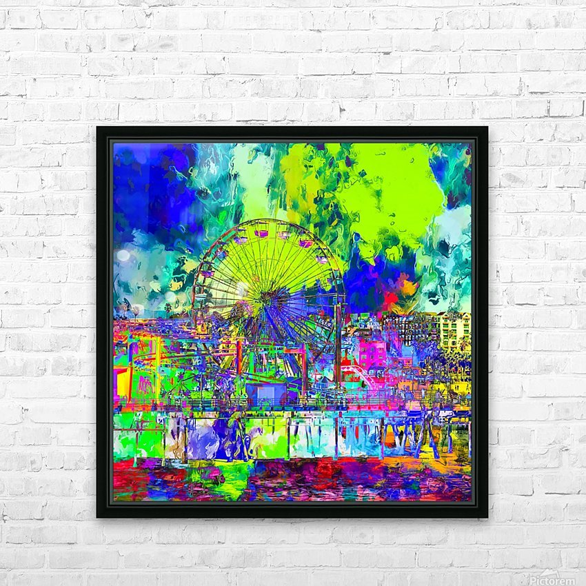 ferris wheel and buildings at Santa Monica pier, USA with colorful painting abstract background HD Sublimation Metal print with Decorating Float Frame (BOX)