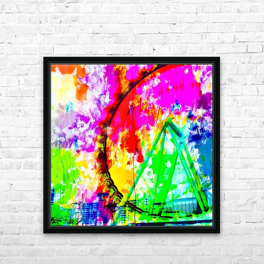 ferris wheel in the city at Las Vegas, USA with colorful painting abstract background HD Sublimation Metal print with Decorating Float Frame (BOX)
