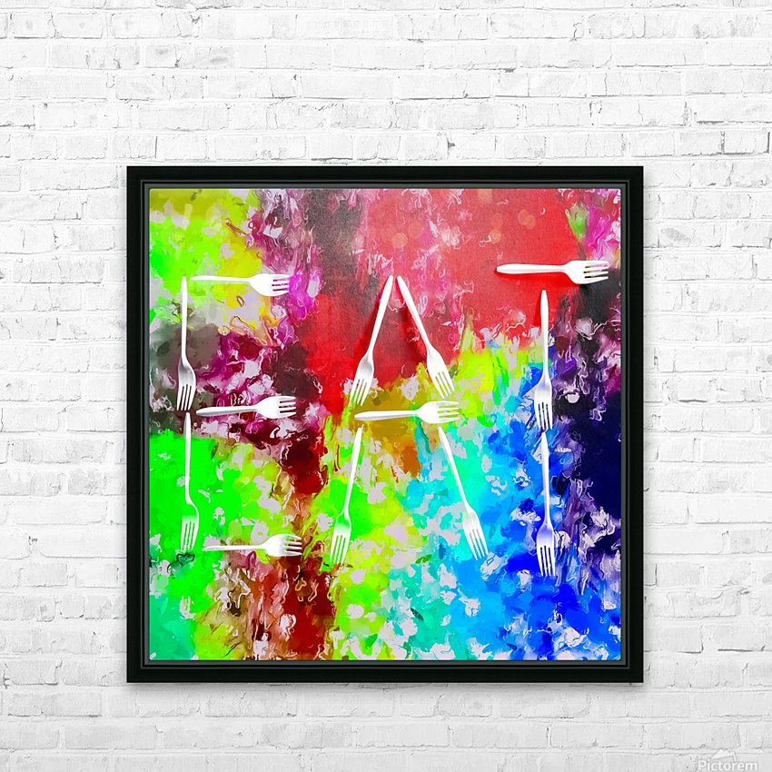 EAT alphabet by fork with colorful painting abstract background HD Sublimation Metal print with Decorating Float Frame (BOX)