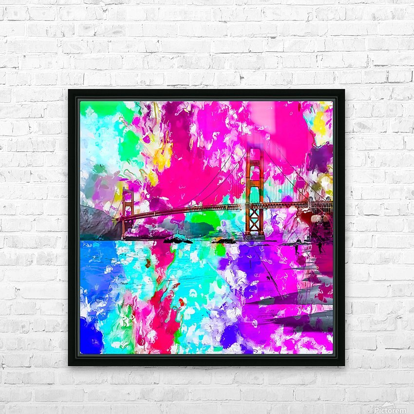 Golden Gate bridge, San Francisco, USA with pink blue green purple painting abstract background HD Sublimation Metal print with Decorating Float Frame (BOX)