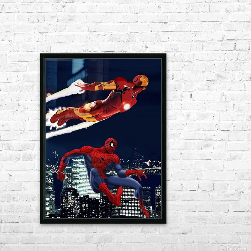 Marvel: Iron Man & Spider-Man HD Sublimation Metal print with Decorating Float Frame (BOX)