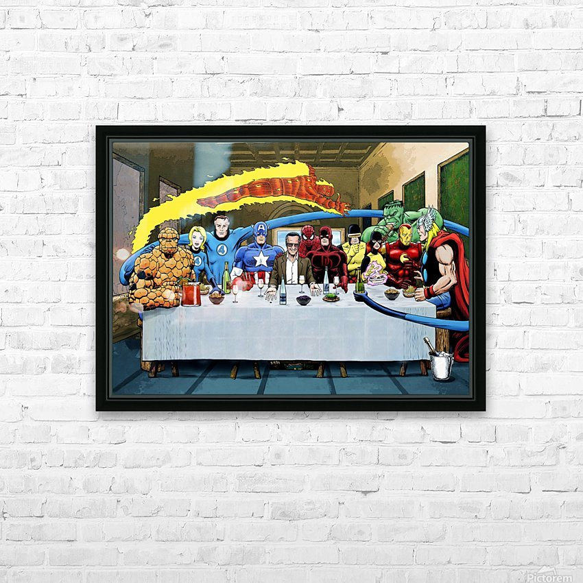 Marvel Superheroes: Stan Lee's Super Supper with Avengers, Fantastic Four, X-Men, Spider-Man & More HD Sublimation Metal print with Decorating Float Frame (BOX)