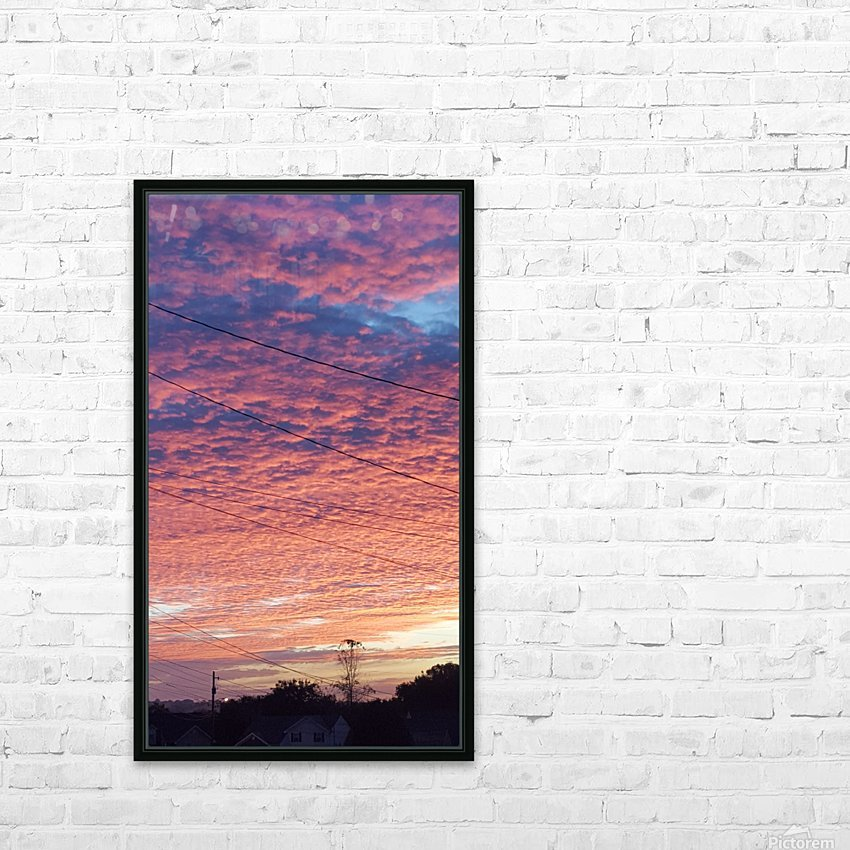 Red Sky Over Wires HD Sublimation Metal print with Decorating Float Frame (BOX)