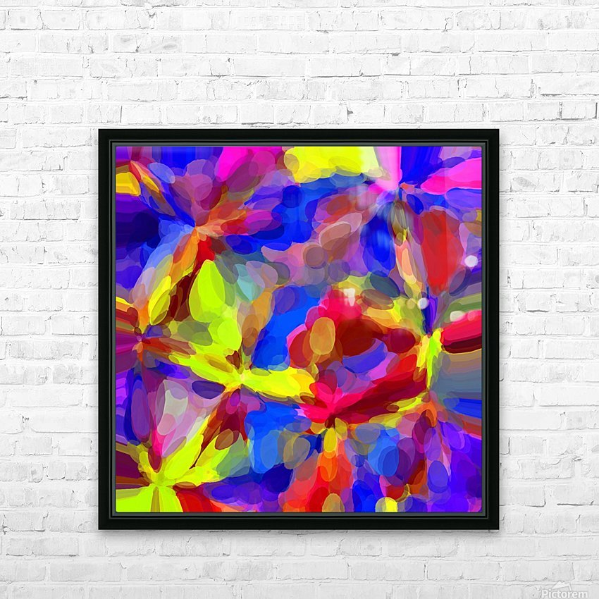 circle pattern abstract background in blue yellow red pink HD Sublimation Metal print with Decorating Float Frame (BOX)