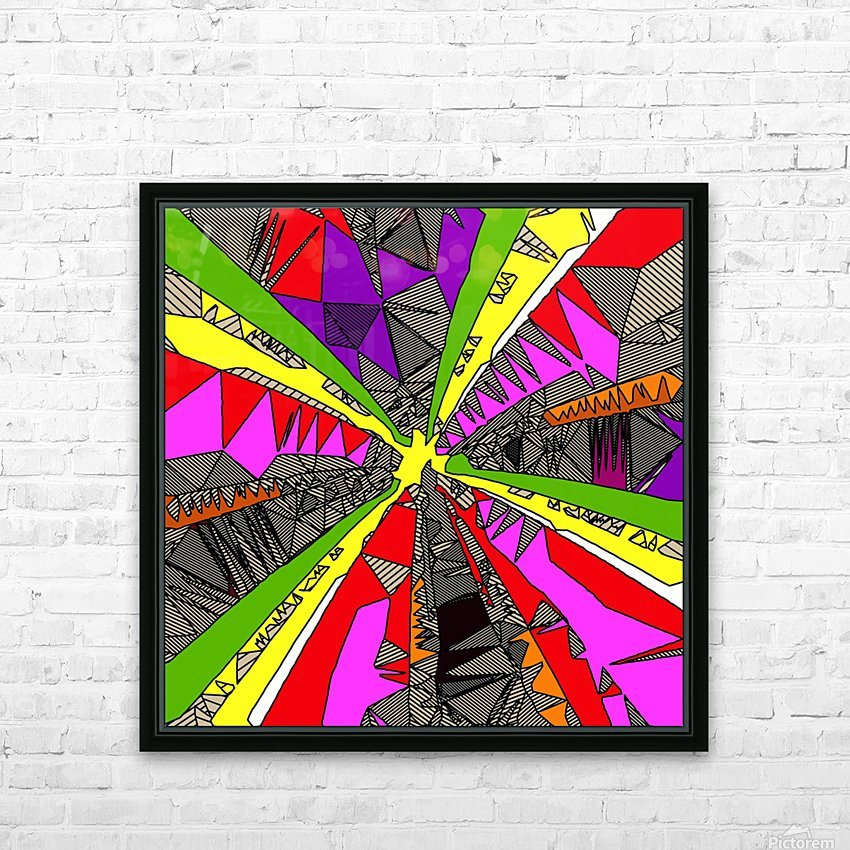 psychedelic geometric pattern drawing abstract background in red pink green yellow HD Sublimation Metal print with Decorating Float Frame (BOX)