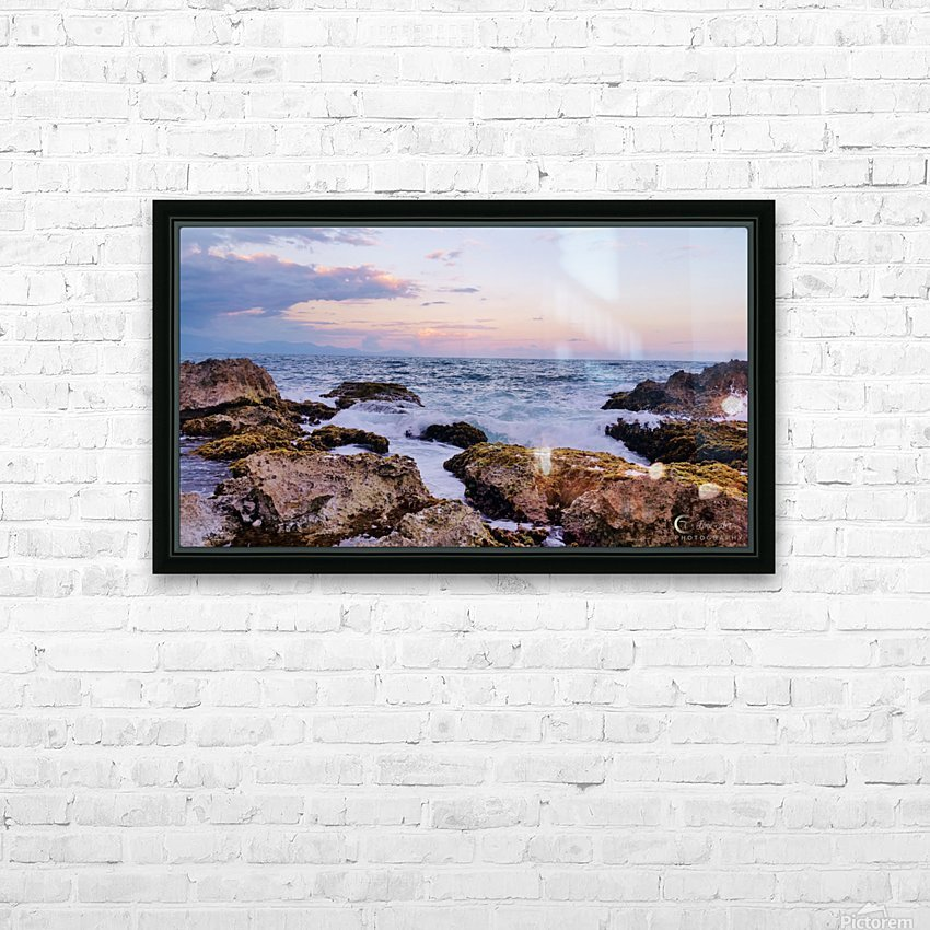 Evening waves HD Sublimation Metal print with Decorating Float Frame (BOX)