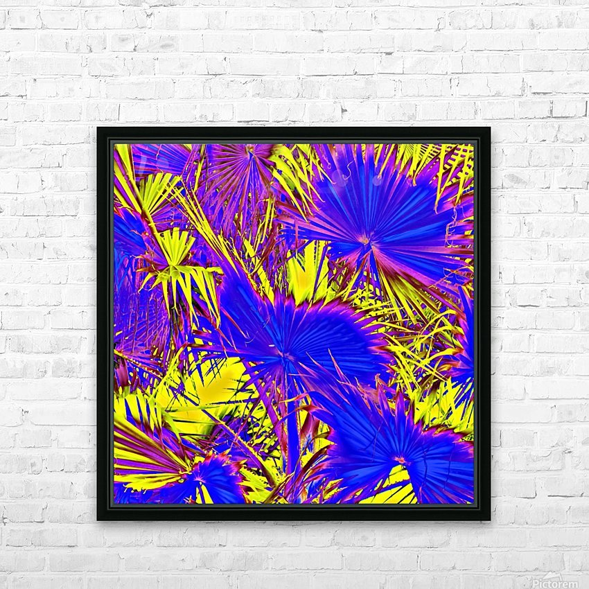 closeup palm leaf texture abstract background in blue pink and yellow HD Sublimation Metal print with Decorating Float Frame (BOX)