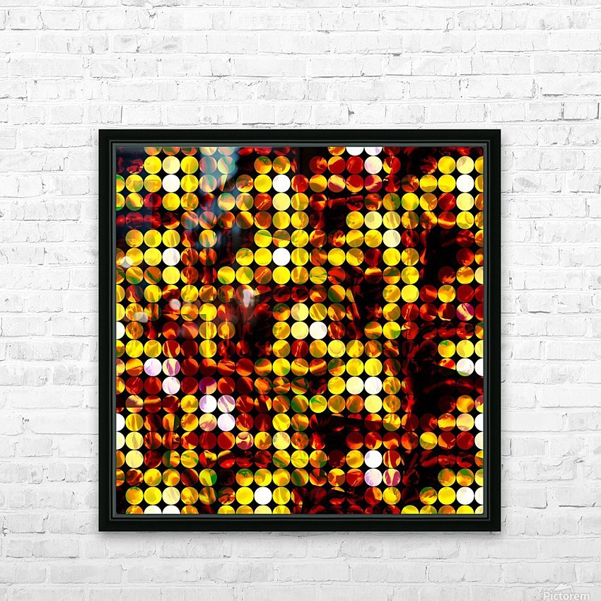 circle pattern abstract background with splash painting abstract in yellow red brown HD Sublimation Metal print with Decorating Float Frame (BOX)