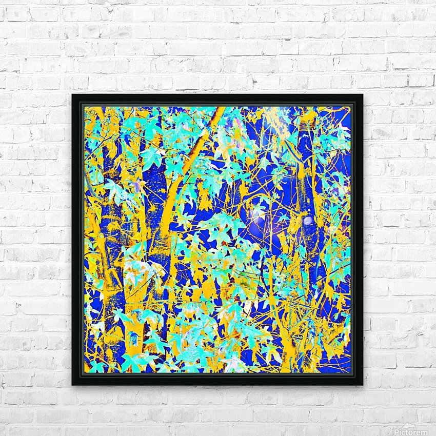 green maple tree leaf with blue and yellow abstract background HD Sublimation Metal print with Decorating Float Frame (BOX)
