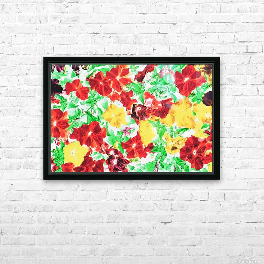 red flower and yellow flower with green leaf abstract background HD Sublimation Metal print with Decorating Float Frame (BOX)