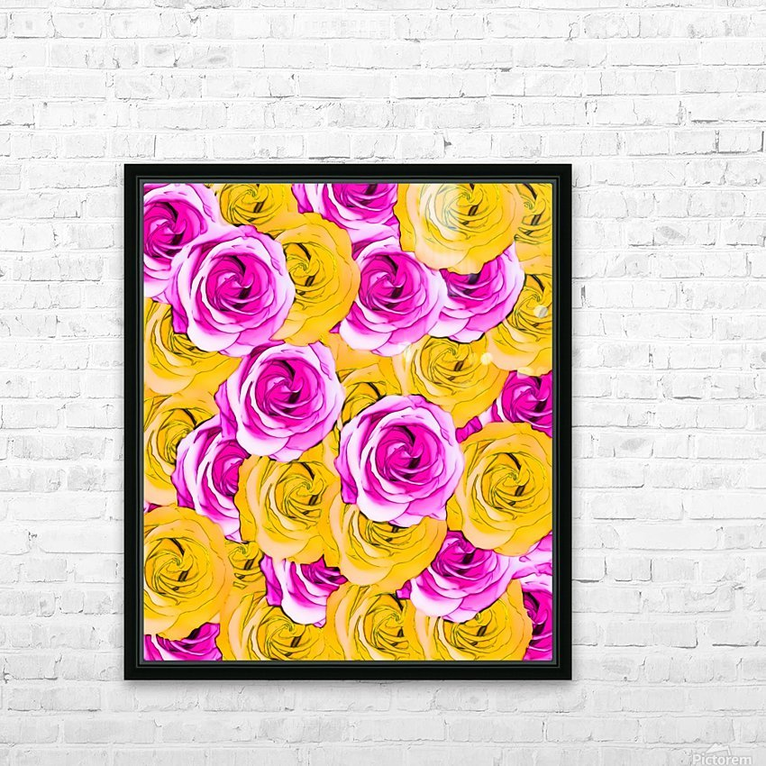pink rose and yellow rose pattern abstract background HD Sublimation Metal print with Decorating Float Frame (BOX)